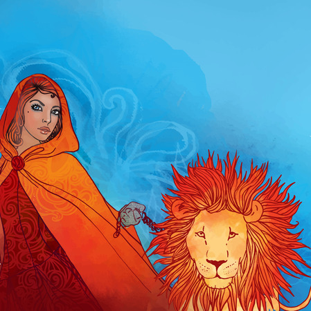 Illustration of leo zodiac sign as a beautiful girl with a lion on a lead Illustration