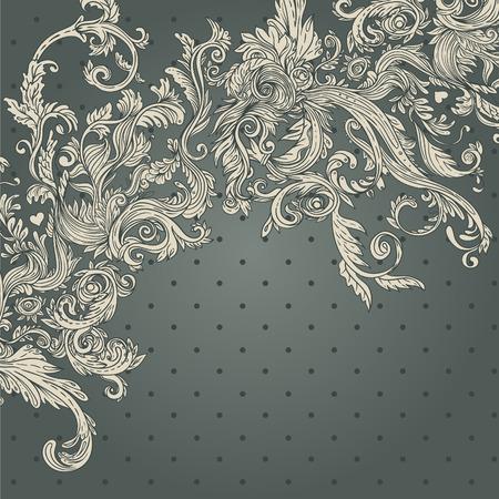 Fondo de la vendimia Modelo barroco adornado, ilustración vectorial