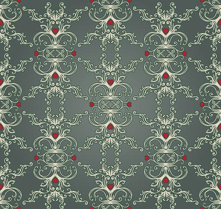 gothic revival style: Vintage background ornate baroque pattern, vector illustration