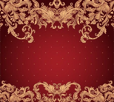 leafy: Vintage background ornate baroque pattern, vector illustration