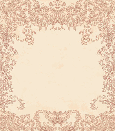 baroque frame: Vintage background ornate baroque pattern, vector illustration
