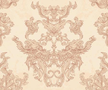 Vintage background ornate baroque pattern, vector illustration 免版税图像 - 33592505