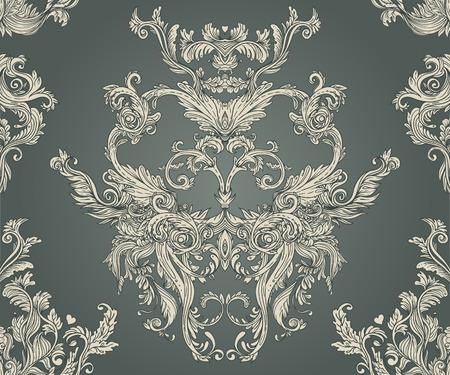 Vintage background motif baroque fleuri, illustration vectorielle Banque d'images - 33592509