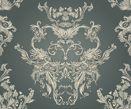 retro revival: Vintage background ornate baroque pattern, vector illustration