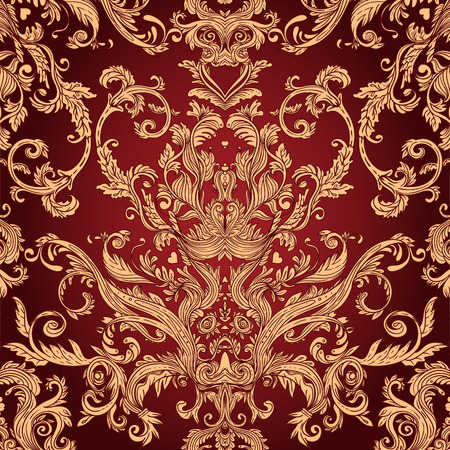 gold swirls: Vintage background ornate baroque pattern, vector illustration