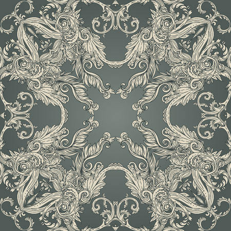 Vintage background ornate baroque pattern, vector illustration
