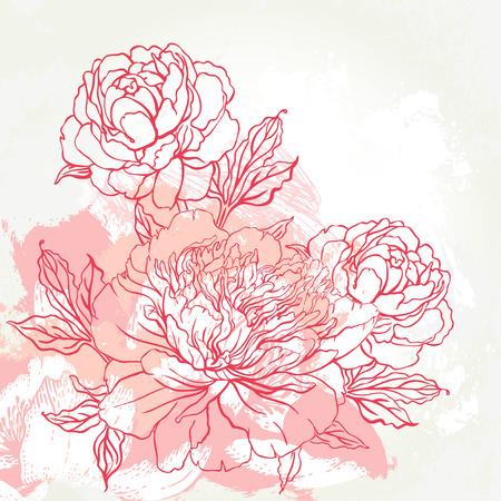 lijntekening: Mooie pioen boeket ontwerp op beige achtergrond. Hand getrokken vector illustratie.