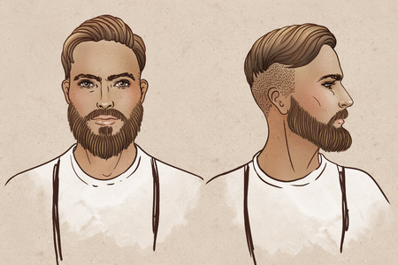 suspender: Portrait of stylish fashion bearded man. Vector illustration.
