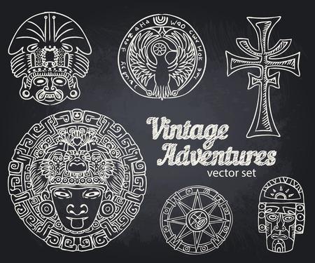artefact: Vintage Adventures: vector set. Design elements