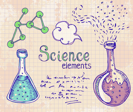synthesis: Back to School: science lab objects doodle vintage style sketches set, vector illustration.