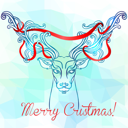 antlers: Abstract deer. Winter illustration on geometric background. Ornate antlers with ribbon.