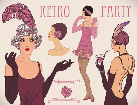 flapper: Flapper girl set: retro women of twenties. Vector illustration. Illustration