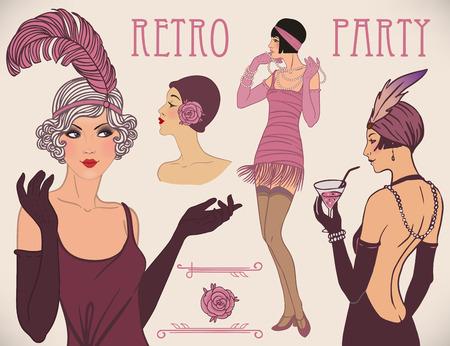 Vinmeisje set: retro vrouwen van twintig. Vector illustratie.