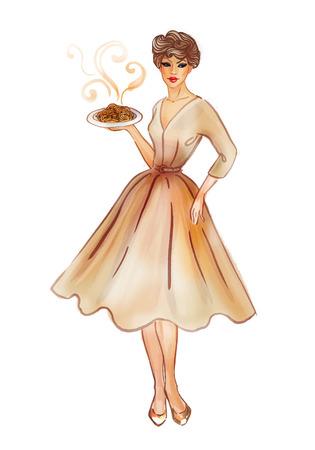 plato pasta: Chica modelo retro sexy en un nuevo plato de pasta vestido estilo mirada mostrando rojo. Ilustraci�n aislado en blanco. Retrato de cuerpo entero.