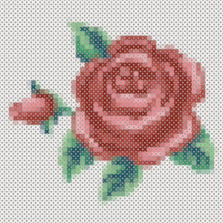 red stitches: Embroidery, Vintage cross stitch Rose and flower bouquet, antique needlework sewing design isolated on black background.