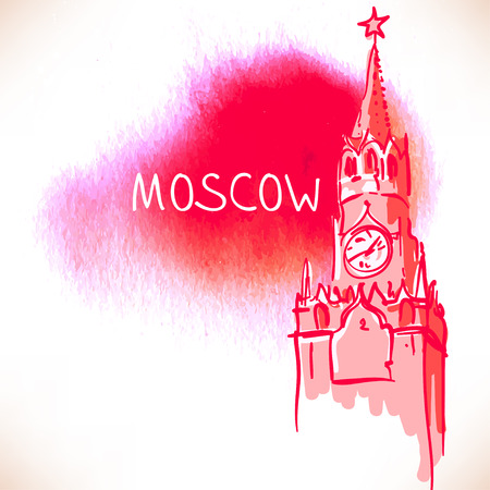 red square moscow: World famous landmark series: Kremlin, Red Square, Moscow, Russia. Watercolor vector illustration. Illustration