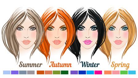 fashion shopping: Face chart Makeup Artist Blank. Template. Vector illustration.