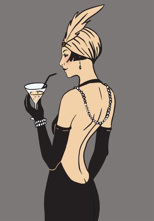 フラッパー女の子: レトロなパーティの招待状のデザイン テンプレート。ベクトルの図。
