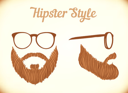 man with beard: Stylized mans face, hipster style, vector illustration