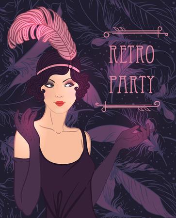 플래퍼 소녀 : 레트로 파티 초대장 디자인 템플릿입니다. 벡터 일러스트 레이 션.