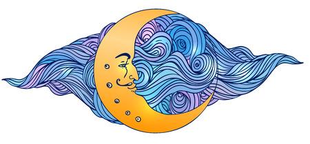 noche y luna: Luna y las estrellas. Ilustración del vector en estilo de grabado de la vendimia. Vectores