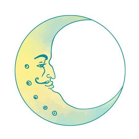 Moon and stars. Vector illustration in vintage engraving style. Ilustração