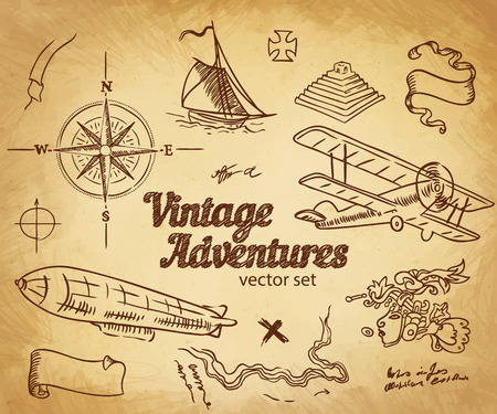 Vintage Adventures: vector set. Design elementen Stock Illustratie