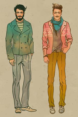Estilo urbano: inconformista de moda los hombres de moda. Retrato del vector de longitud.