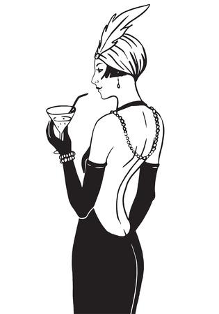 Chica de la aleta: plantilla de diseño retro de la invitación del partido. Ilustración del vector. Ilustración de vector