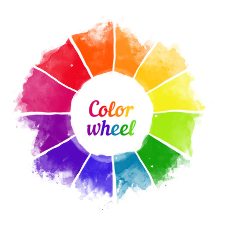 Handmade color wheel. Isolated watercolor spectrum. Vector illustration. Ilustração