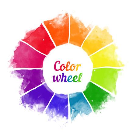Handmade koło kolorów. Izolowane spektrum akwarela. Ilustracji wektorowych.