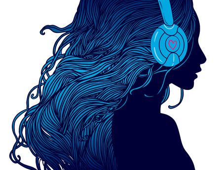 DJ 소녀 : 헤드폰에서 긴 머리를 가진 예쁜 여자의 프로필 일러스트