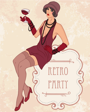 roaring: Flapper girl: Retro party invitation design template. Vector illustration.