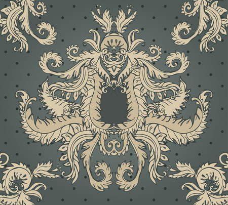 oldened: Seamless pattern with beige flowers on dark green background. Art nouveau style.