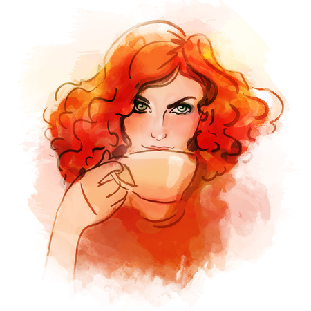 Beautiful redhead girl drinking morning hot coffee or tea. Watercolor illustration. Illustration