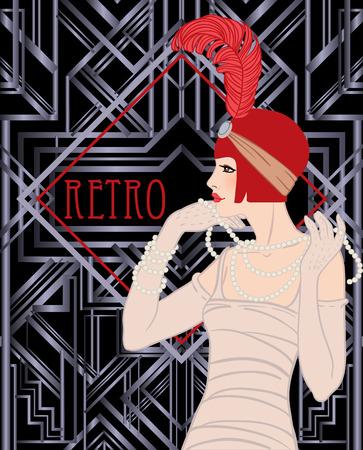 gold age: Flapper girl: Retro party invitation design template. Vector illustration.