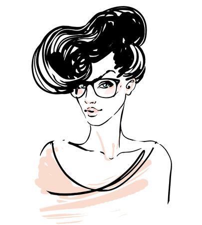 소식통 스케치 세트 : 선글라스에 예쁜 여자, 벡터 일러스트 레이 션입니다.