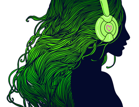party night: DJ girl: Profile of pretty girl with long hair in headphones