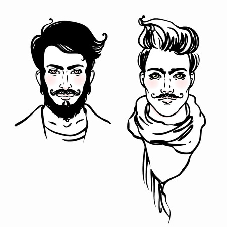 shaved head: Hipster Style: trendy fashion men. Sketch character set Vector illustration.