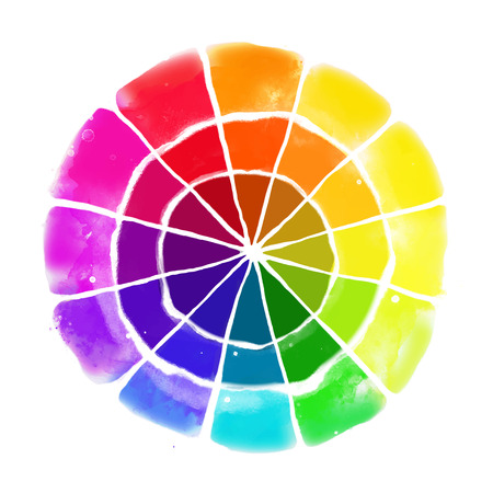 Handmade color wheel. Isolated watercolor spectrum. Vector illustration. Çizim