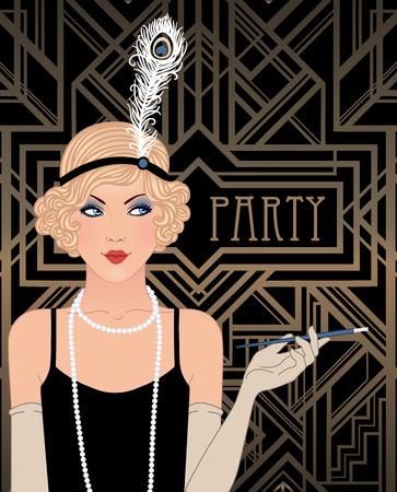 30s: Flapper girl: Retro party invitation design template. Vector illustration.