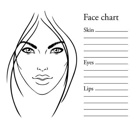 illustrations: Face chart Makeup Artist Blank. Template. Vector illustration.