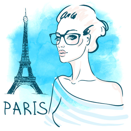 fashion portrait: Cute young french woman in eyeglasses on watercolor background with Eiffel Tower. Vector illustration.