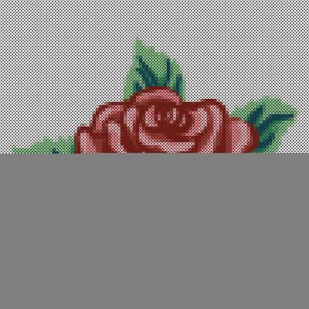 punto cruz: Bordado, cruz Vintage puntada Rose y ramo de flores, antigüedad diseño coser la costura aisladas sobre fondo negro.