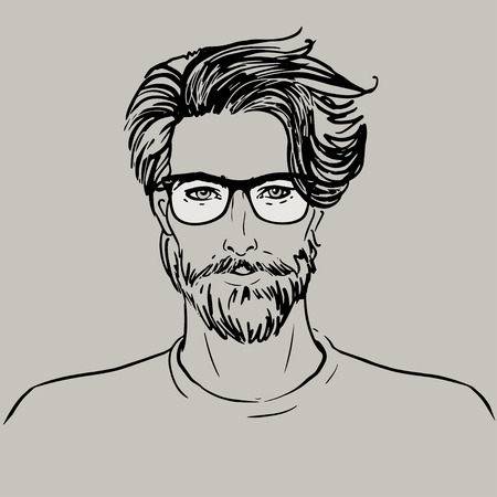 man with beard: Hipster. Vector of a man face with beard
