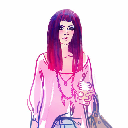 urban street: Urban street style: Pretty hipster girl with pink hair holding coffee cup portrait isolated on white background, sketchy style fashion vector illustration