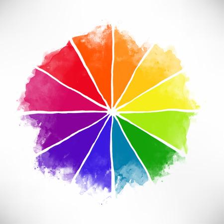 Handgemaakte kleurenwiel. Geïsoleerde aquarel spectrum. Vector illustratie.