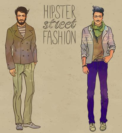 urban fashion: Urban style: Hipster fashion trendy men. Full length vector portrait. Illustration