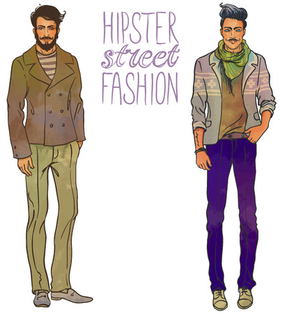 vintage fashion: Urban style: Hipster fashion trendy men. Full length vector portrait. Illustration