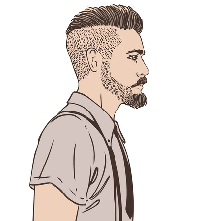 Portrait of stylish fashion bearded man. Vector illustration.